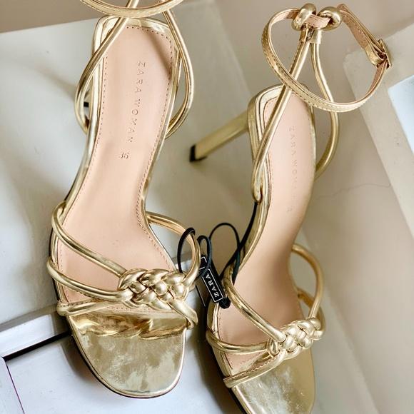 ZARA Gold High Heel Sandals